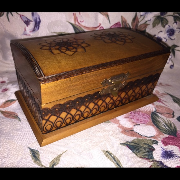 Other - Vintage Footed Burn Carved Box